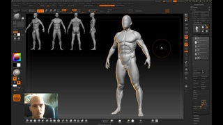 Human anatomy sculpting in Zbrush - from scratch to ready model of 3d man