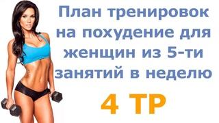 План тренировок на похудение для женщин из 5-ти занятий в неделю (4 тр)