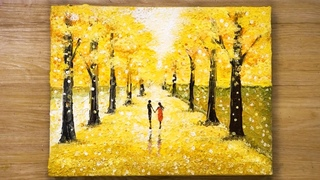 How to paint Ginkgo Trees / Cotton Swabs Painting Technique #422