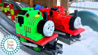 Racing Our DUPLO Thomas and Friends Toy Trains in the Snow