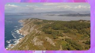 Cabo do Home. Islas Cíes, Costa da Vela, Facho de Donón, Galicia, a vuelo de pájaro.