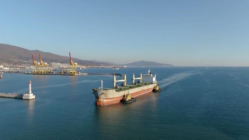 Новороссийский морской торговый порт 2020 Аэросъемка НМТП в 4K 2160p Новороссийск 2020