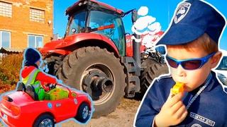 Трактор сломался у веселого папы . Любомир автослесарь помог починить большой  трактор папе.
