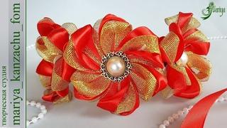 Простой ободок с цветами канзаши из узкой ленты 1,2 см | мастер-класс | DIY | kanzashi | Mariya