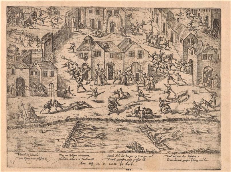 Описания первой гугенотской войны по Франции из альбома Geschichtsblätter знаменитого гравера Франца Хогенберга (са. 1560 — 1623, здесь события 1562 года) — листать картинки по стрелке.