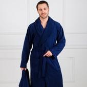 Премиум - Темно-синий мужской махровый халат с вышивкой