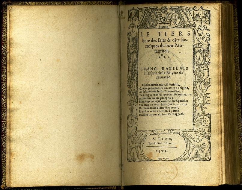 Третий том «Гаргантюа и Пантагрюэля», издание 1571 года