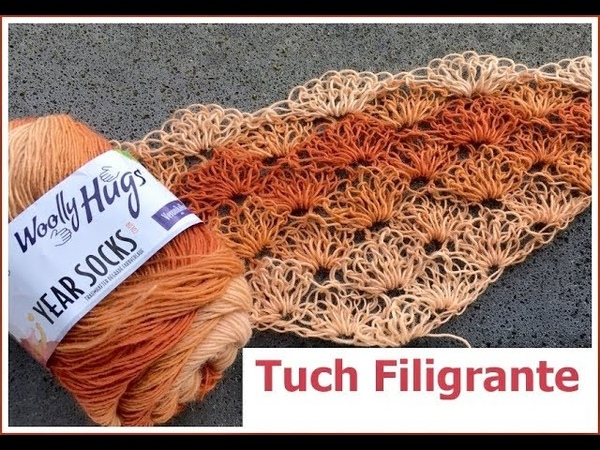 Tuch Filigrante EINFACH Häkeln Schlingen Muster Look Muster häkeln Mit Woolly Hugs